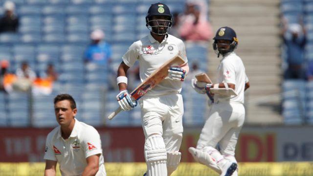 भारतीय बल्लेबाज़ लोकेश राहुल और आजिंक्य रहाणे.