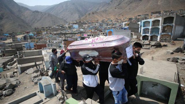 Familiares entierran a Teofilo Yovera Yarleque en el cementerio Mártires 19 de Julio en Lima, Perú.