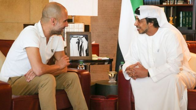 El jeque Mansour con Pep Guardiola