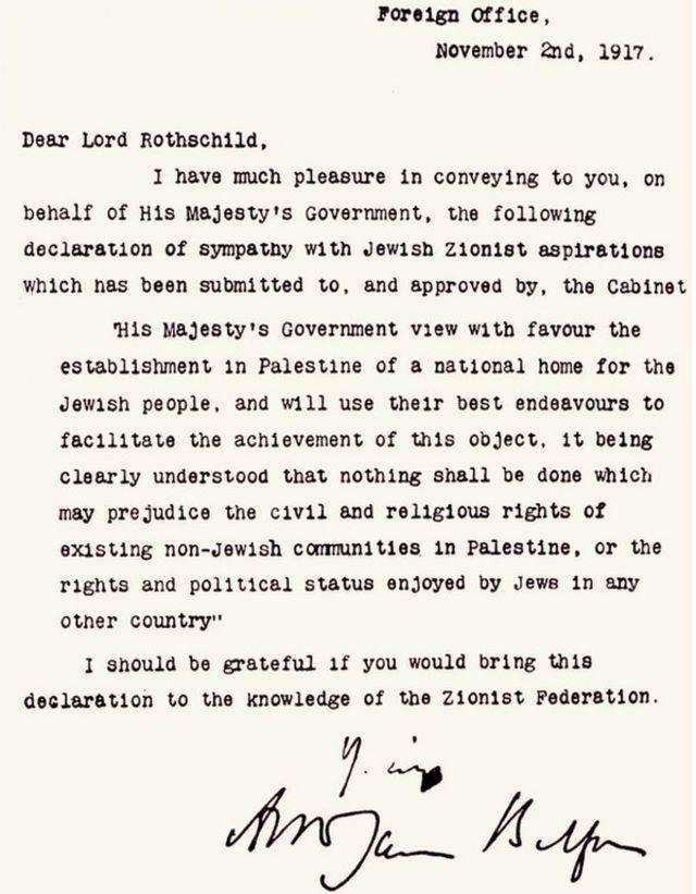 Foto del texto de la Declaración Balfour.