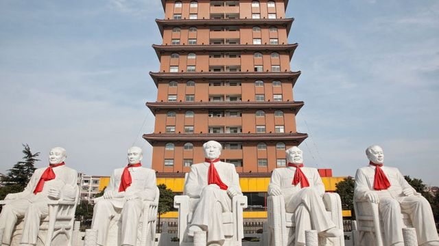 Statues of the founding fathers of communist China sit in a park in Huaxi Village, Jiangsu Province, China on 19 February 2010. Huaxi village is often regarded as the richest village in China