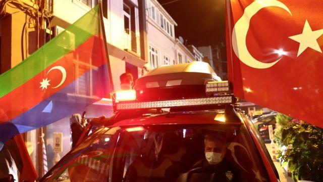 Демонстрация в поддержку Азербайджана в Стамбуле