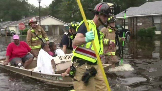 Family being rescued