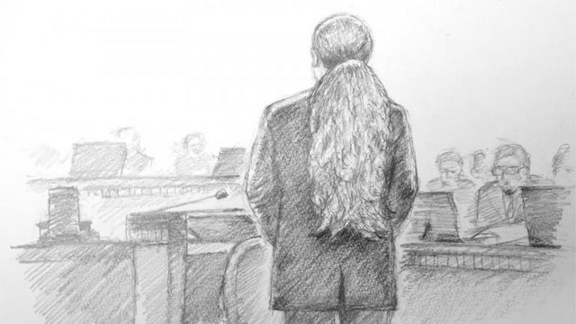 This courtroom sketch illustrated by Masato Yamashita depicts Satoshi Uematsu, accused of the 2016 murder of 19 disabled people at a Japanese care home, attending his first hearing at the Yokohama District Court in Yokohama, Kanagawa prefecture on January 8, 2020