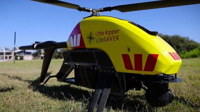A drone which can spot sharks and deploy life-saving equipment