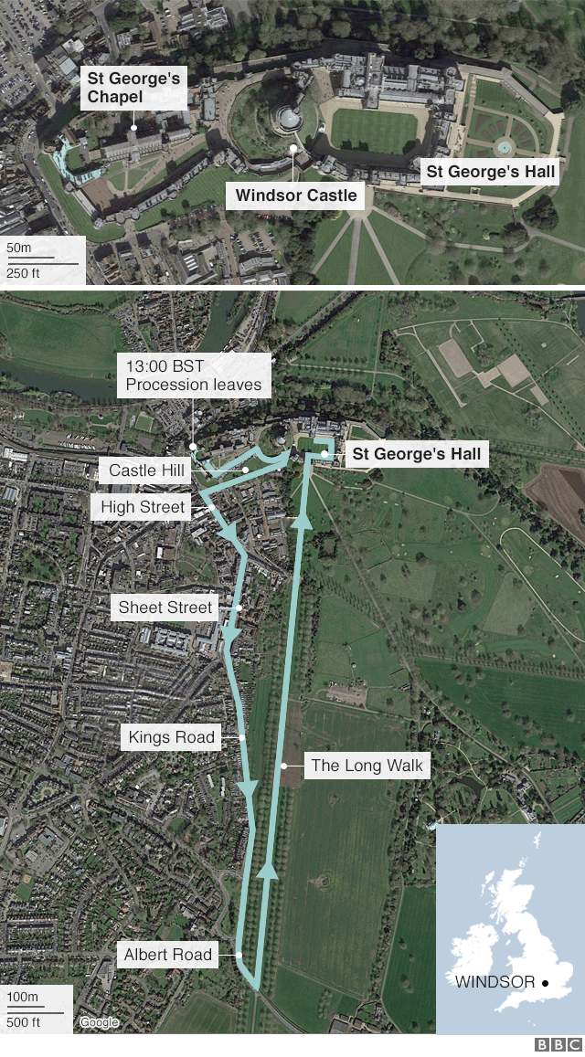 The royal wedding route map