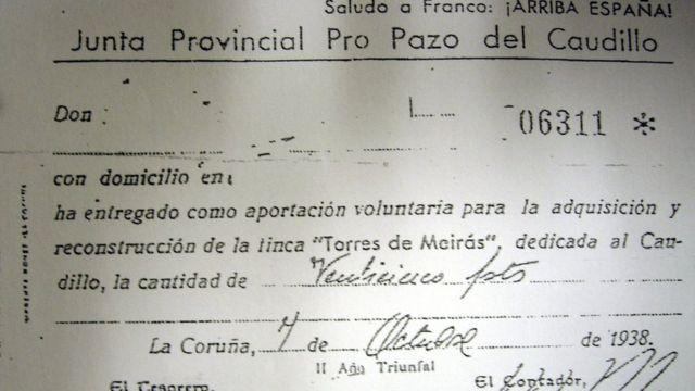Recibo de una aportación realizada para sufragar la compra del Pazo de Meirás.