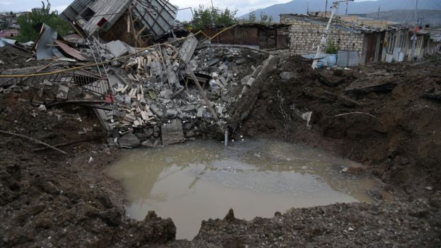 A view shows aftermath of recent shelling during the ongoing fighting between Armenia and Azerbaijan over the breakaway Nagorno-Karabakh region, in the disputed region's main city of Stepanakert
