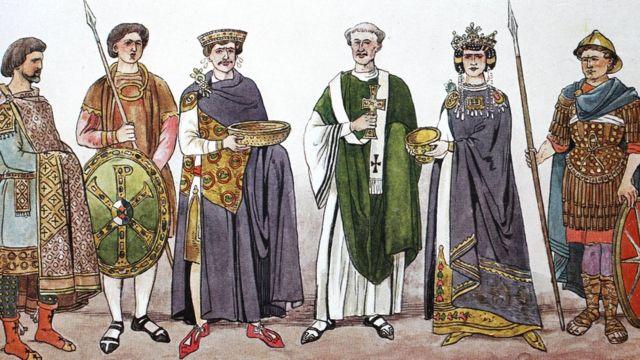 ملکہ تھیوڈورا (دائیں سے دوسرے نمبر پر) اور شہشناہ جسٹینین(بائیں سے تیسرے نمبر پر) کا تصوراتی خاکہ