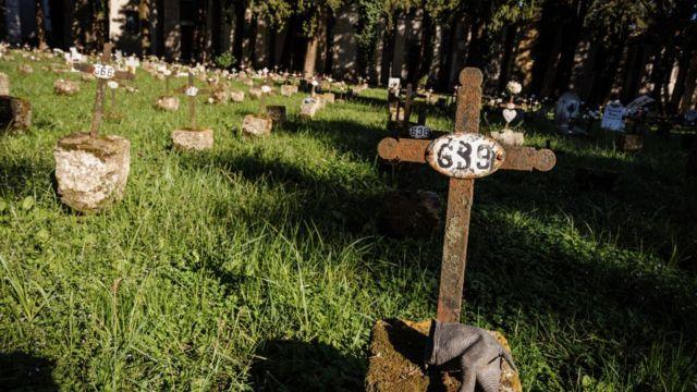 Cementerio de fetos en Caserta, Italia.