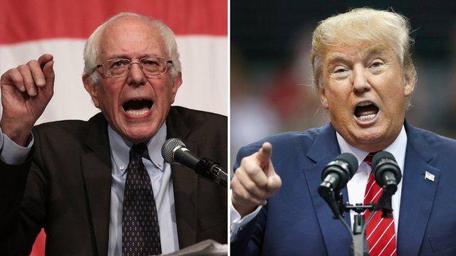 Composite image of Bernie Sanders and Donald Trump