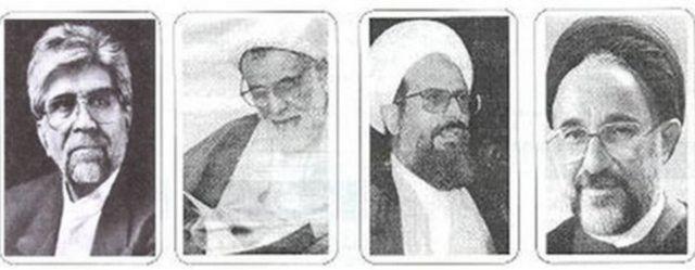 از راست: محمد خاتمی، محمد محمدی ریشهری، علیاکبر ناطقنوری، رضا زوارهای
