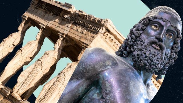 Las cariátides mármol y uno de los guerreros de Riace, hecho en bronce