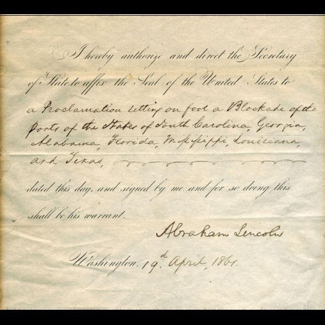 Documento firmado por el expresidente estadounidense Abraham Lincoln.