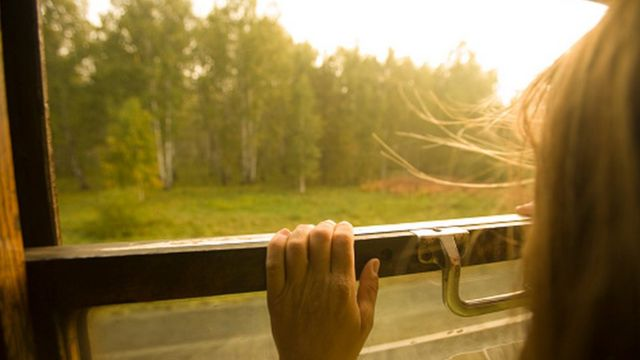 File image of Russian girl on a train