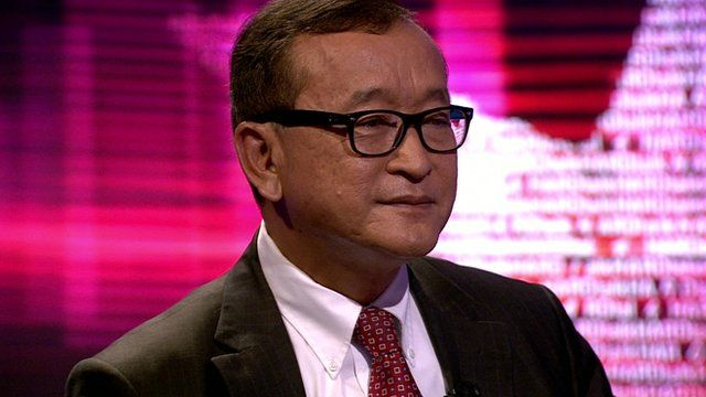 Sam Rainsy, president of the Cambodia National Rescue Party (CNRP)