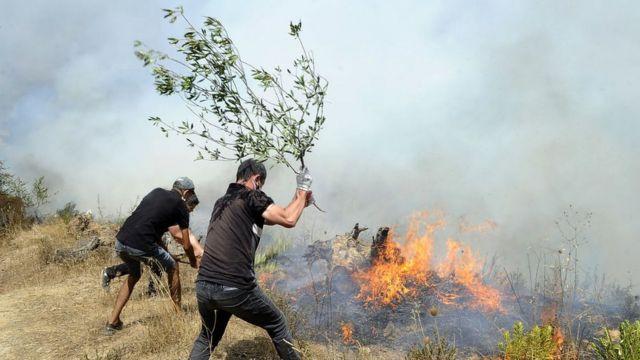 Aldeanos intentan apagar el fuego