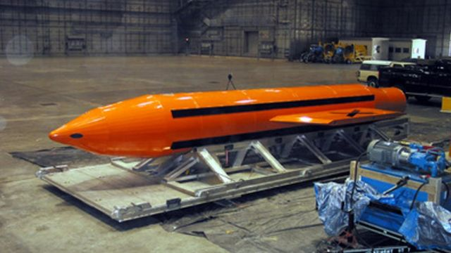 MOAB) weapon is prepared for testing at the Eglin Air Force Armament Center on March 11, 2003 in Valparaiso, Florida
