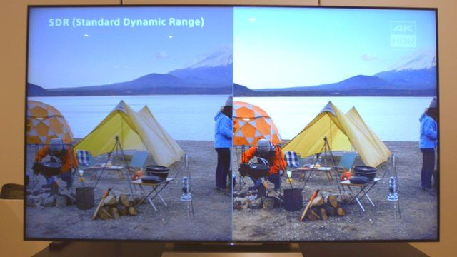 A television displaying the difference between Standard Dynamic Range and High Dynamic Range
