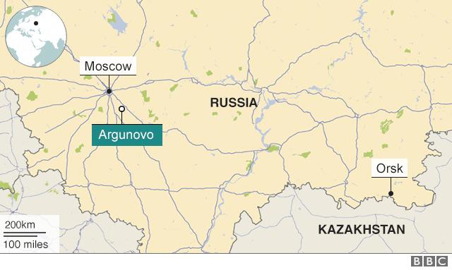 사고기는 모스코바에서 동남쪽으로 약 80km 떨어진 아르구노보 마을 인근에 추락했다