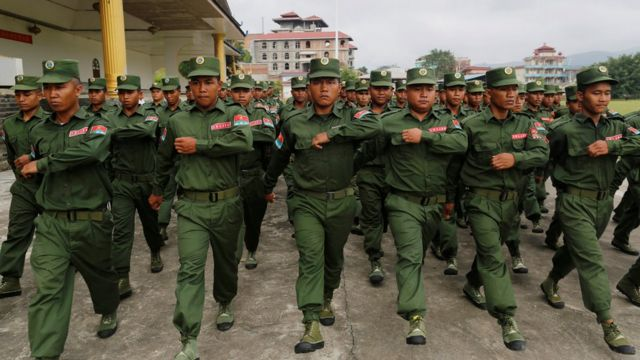 United Wa State Army (UWSA) soldiers march in Pansang, Wa territory in north east Myanmar