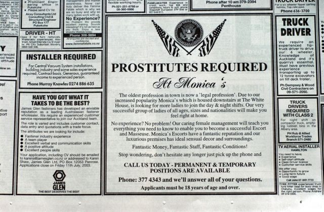 Anuncio de empleo de prostitutas