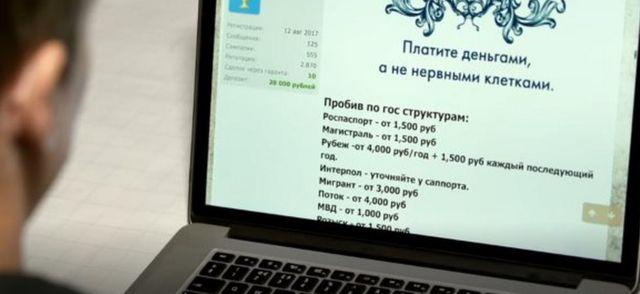 Screenshot of illegal website selling data