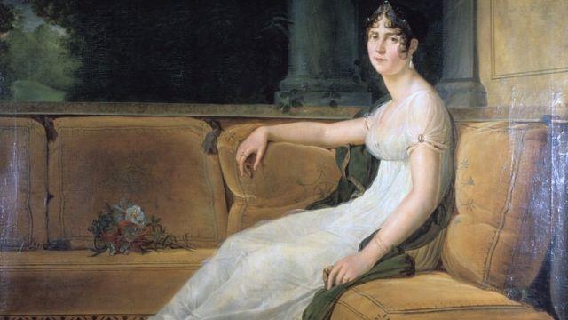 Pintura de Josephine Bonaparte, posando com um vestido de musselina em sofá