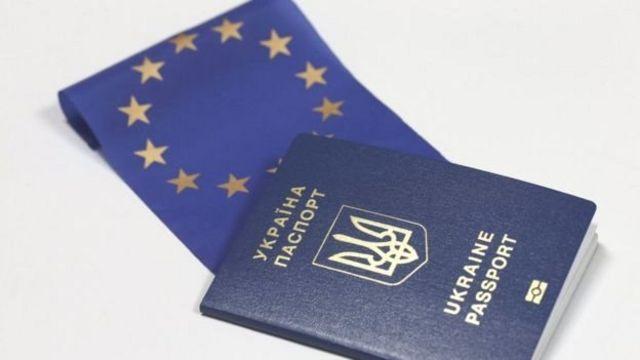 Український паспорт і прапор ЄС