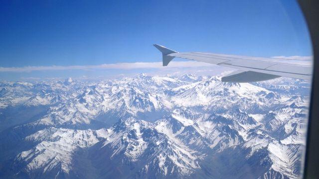 Vista aérea da Cordilheira dos Andes
