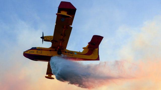 आग बुझाने में जुटे विमान