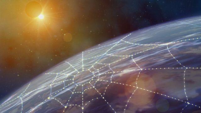 Imagen de una red sobre el planeta Tierra