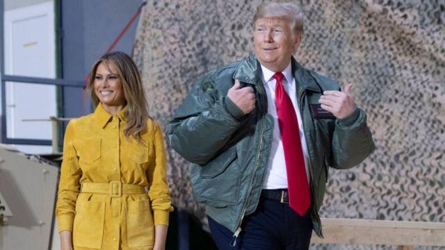 अमरीकी राष्ट्रपति डोनल्ड ट्रंप और अमरीका की फर्स्ट लेडी मेलानिया ट्रंप