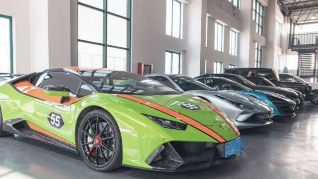 Screenshot of luxury sports cars