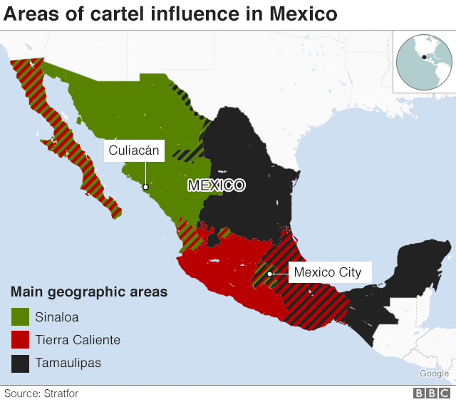 Map showing areas of cartel influence in Mexico