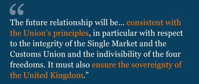 Text from political declaration saying: The future relationship will be... consistent with the Union's principles, in particular with respect to the integrity of the Single Market and the Customs Union and the indivisibility of the four freedoms. It must also ensure the sovereignty of the United Kingdom.
