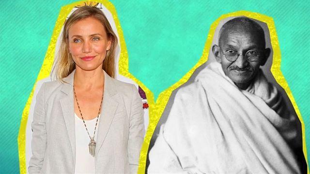 Cameron Diaz y Mahatma Gandhi
