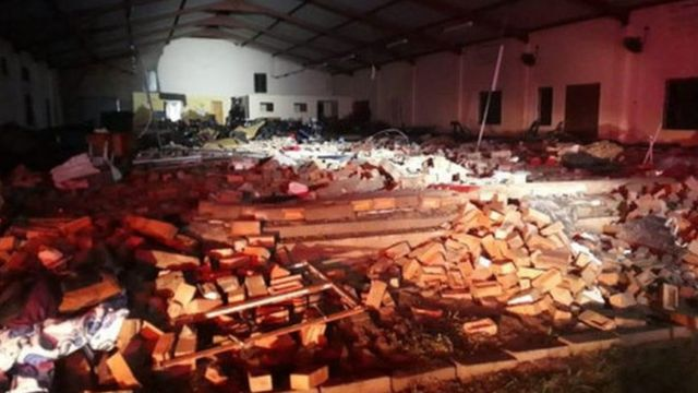 Inside the collapsed church