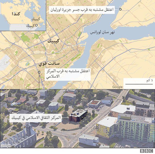 خريطة تبين مكان المركز الإسلامي الذي تعرض للهجوم الدامي
