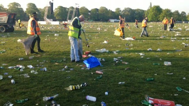 Workers spent the morning cleaning up Victoria Park in Leicester after the victory party