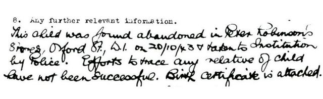 Adoption document that mentions abandonment