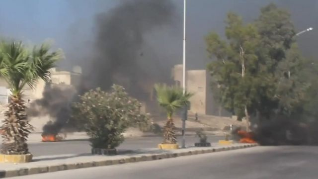Aleppo tyre fires