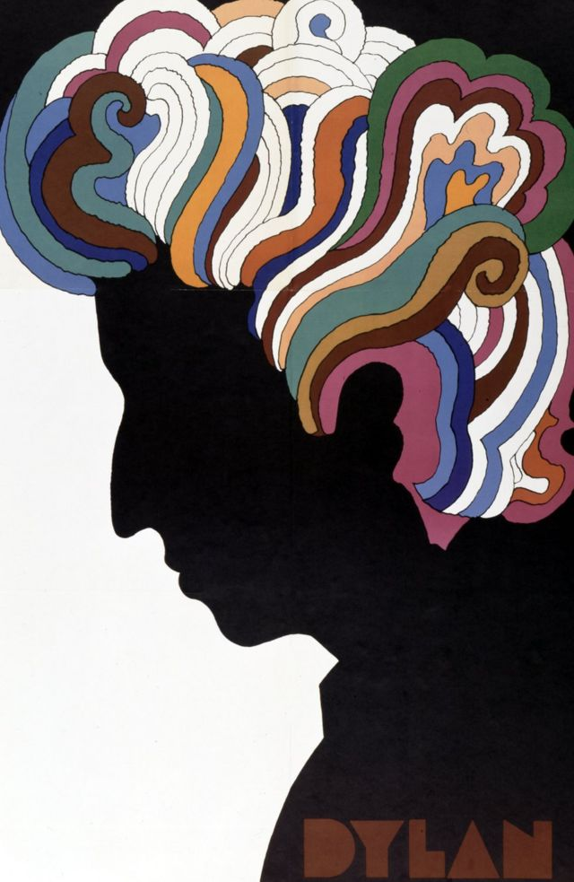 """Bob Dylan poster designed by Milton Glaser as an insert to the album """"Bob Dylan's Greatest Hits"""" which was released on 27 March 1967"""