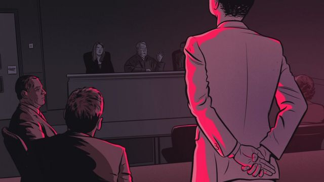 Drawing of man in court.