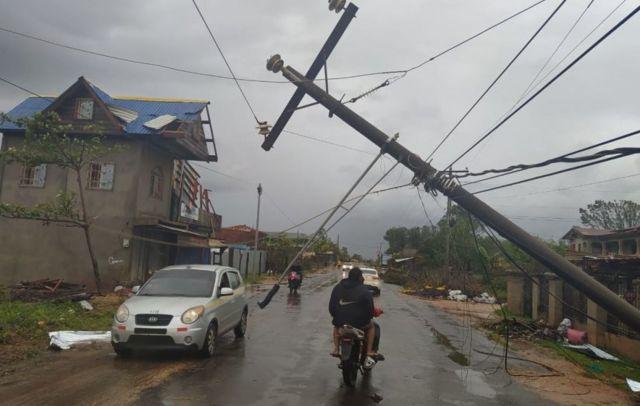 Calle en Nicaragua afectada por las lluvias.