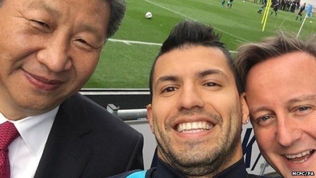 Selfie photograph of President Xi Jinping, Sergio Aguero and David Cameron