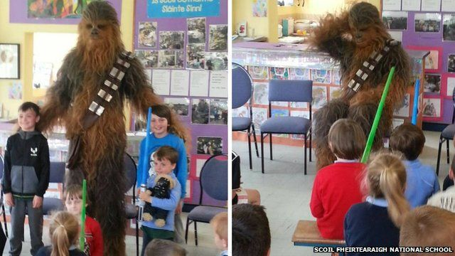 Chewbacca visits school