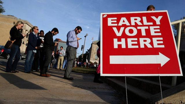 Long lines for early voting.
