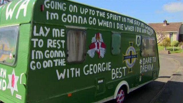 The NI football fans' caravan has been painted in the team's colours
