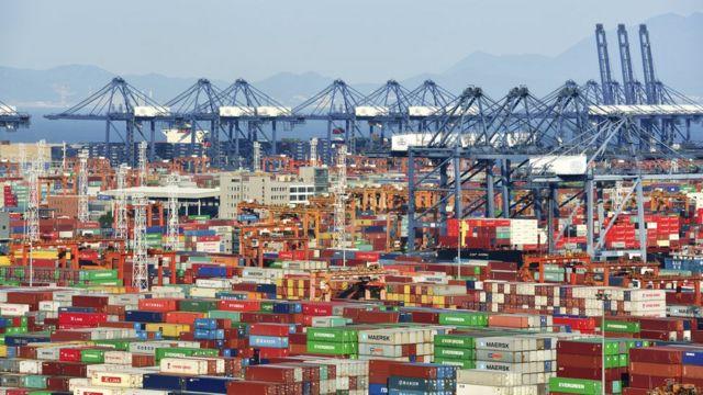 Exportaciones chinas, contenedores.